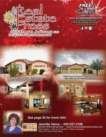 Real Estate Press, Southern Arizona, Vol. 31, No. 12, December 2018
