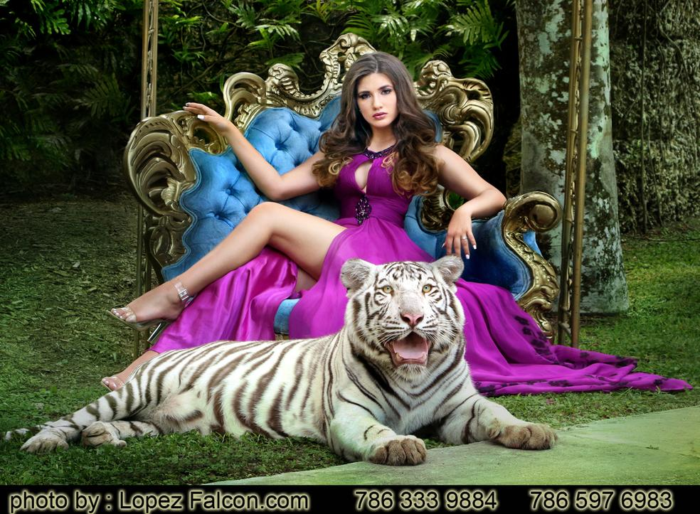 Quinceanera with tiger isecret gardens photo shoot quinces photography miami quince dress Sweet 15 dresses
