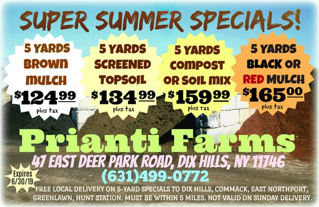 Prianti Mulch Soil Compost Bulk Delivery Special Sale Long Island