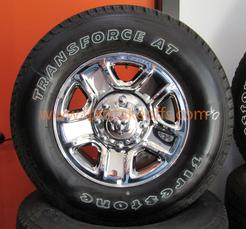 "RAM 8 LUG 20"" CHROME AND GREY WHEELS TIRES"