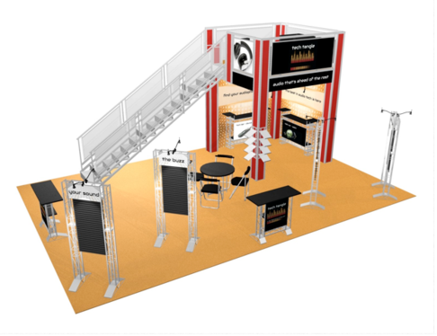 Tech Tangle 20 x 30 double deck trade show booth side view.