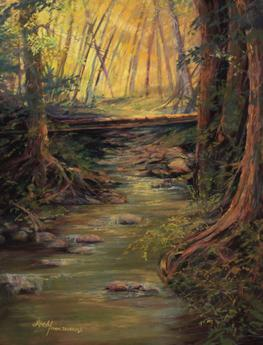 Taos Creek, original pastel painting by Texas artist Lindy Cook Severns