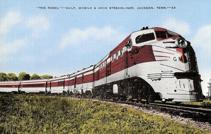 The Gulf Coast Rebel as it appeared in the pre-Alton acquisition era with silver-and-red paint. An ALCO DL-105 is on the lead.
