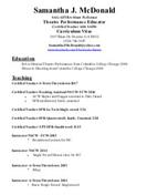 Samantha J McDonald Resume