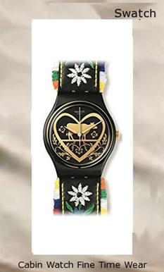 Swatch GB285 Die Glocke Black Dial Floral Embroidery Leather Women Watch NEW