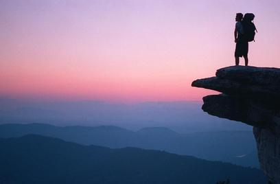 McAfee Knob overlook in Virginia at sunset