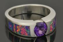 Lab opal ring with amethyst in sterling silver by Hileman.