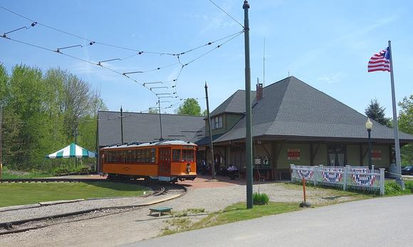 The Visitor Center at Seashore Trolley Museum. Boston Elevated Railway Car No. 5821 is on the loop track.