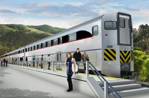 Artist's rendering of the bilevel railcar.