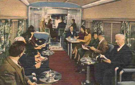 The Blue Bird's Club Lounge car, circa 1950s.