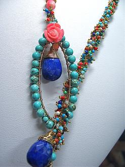 Turquoise, Coral, Lariat, Body Jewelry, Lapis Lazuli, Blue , Lapis, Artisan, Wire linked, Gold, Gift, Artred Couture