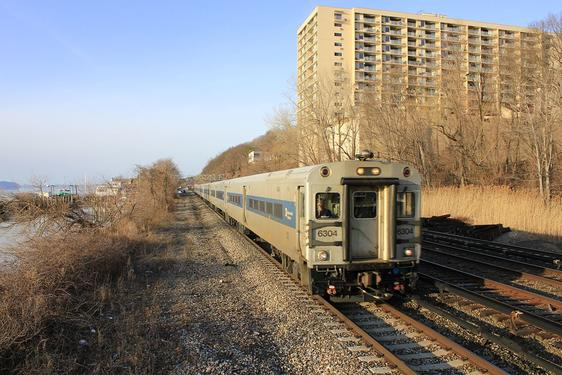 A Metro-North Shoreliner IV car at Greystone, Yonkers, New York.