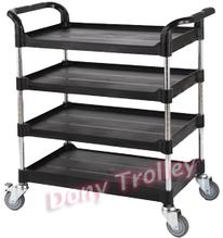 Height-adjustable service cart, 4 tier adjustable utility carts manufacturer