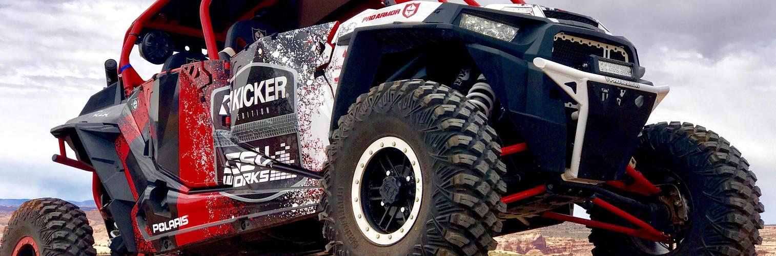 Kicker powersport audio for sale Canton Ohio - Polaris RZR speakers Ohio - New Philadelphia Ohio Car Audio - kicker-audio-speakers-amps-side-by-side-polaris-can-am-utv-powersports-canton-ohio-akron-alliance