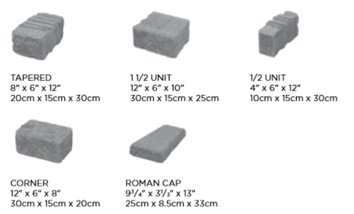 Unilock Roman Wall Sizes and Dimensions