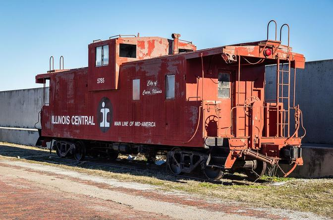 A retired Illinois Central caboose near Cairo, Illinois.