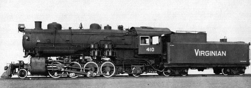 ​Builder's photo of Virginian No. 410, a 2-8-2 Mikado.​