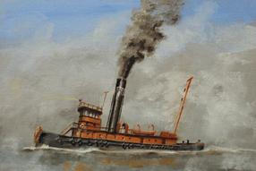 painting of a railroad tugboat