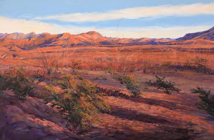 Ribbons of Sunset, late afternoon turns Big Bend National Park red and violet in this large pastel painting by Lindy Cook Severns, Old Spanish Trail Studio, Ft Davis, TX