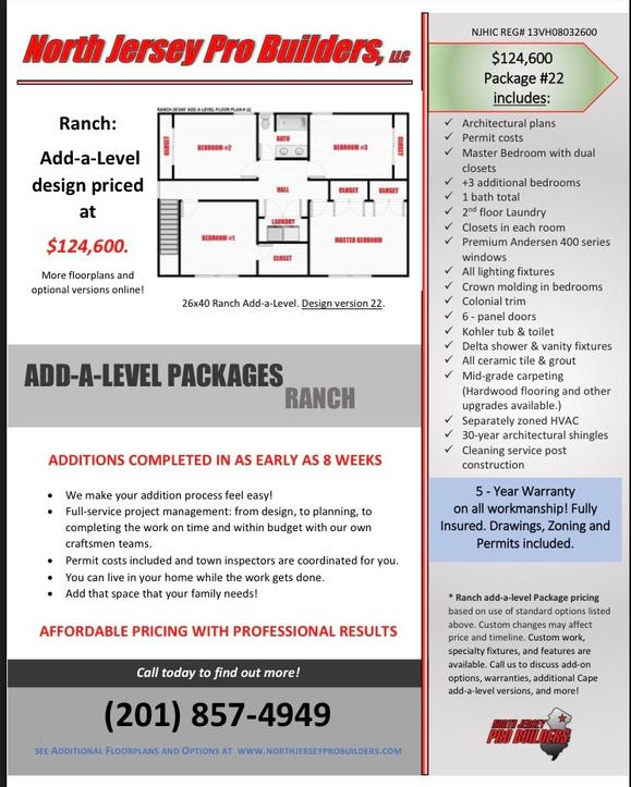 North Jersey Pro Builders | Ranch add-a-level floor plan 22