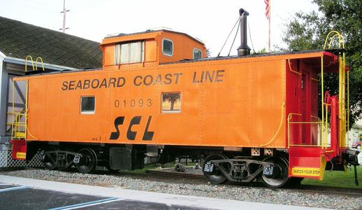 A former Seaboard Coast Line Railroad class M-6 caboose on display at the Mulberry Phosphate Museum, Mulberry, Florida.