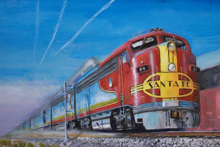 railroad locomotive painting Santa Fe passenger train