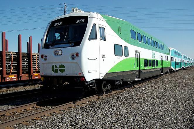 GO Transit 358 is one of the numerous Bilevel cab cars with a new front design.