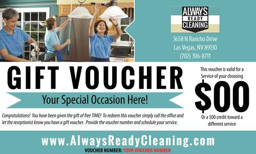 Gift certificate. Picture of a gift voucher from Always Ready Cleaning. The gift of time.