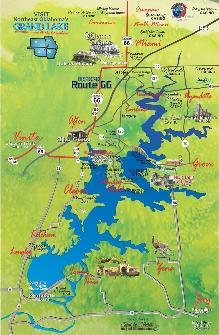 Grand Lake OK Route 66 map
