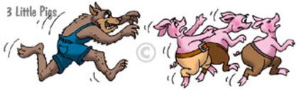 cartoon wolf chasing three little pigs for children's book illustration