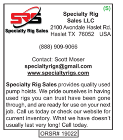 Specialty Rig Sales, SRS, Pump Hoists