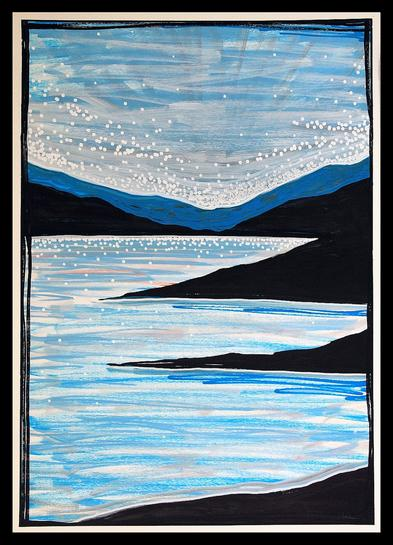 Blue Lake 2020. 60x42cm. Acrylic molotow markers on paper. Landscape painting by Orfhlaith Egan, Berlin