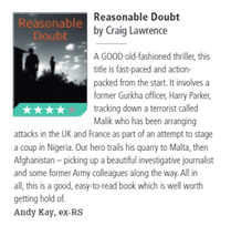 Review of Reasonable Doubt by Craig Lawrence in July 2020 Soldier Magazine