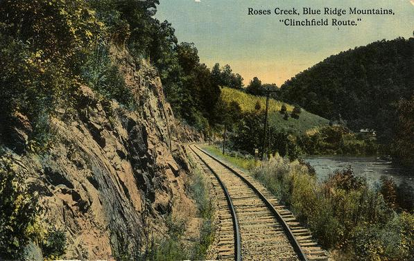 Postcard depiction of Roses Creek on the Clinchfield Route.