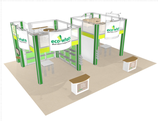 Eco-whats 30 x 40 double deck trade show booth exhibit front view.