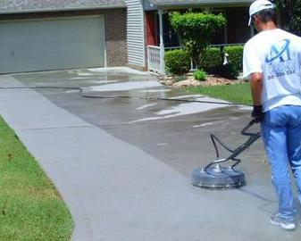 Driveway, patio, and concrete pressure washing performed by A1 Pressure Washing