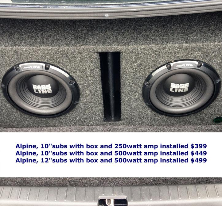 Alpine bassline subs,vented box, amp and installed
