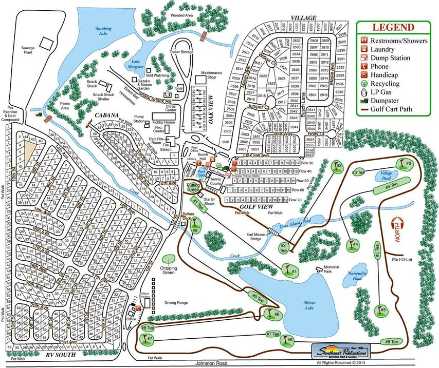 Travelers Rest RV Resort and Golf Course Map