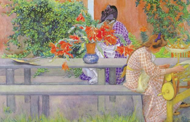 In October Garden inspired  Swedish Carl Larsson  Counted Cross Stitch Pattern