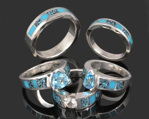 Spiderweb turquoise engagement rings and wedding ring set