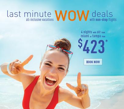 Last minute all inclusive vacation promo from $423pp