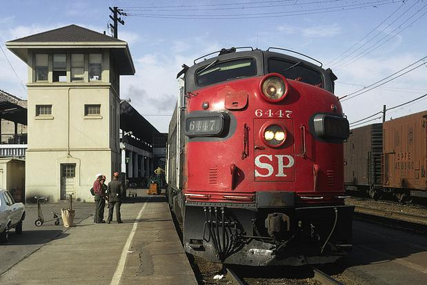 August 1972, SP No. 6447 is ready to leave SP's 16th St. Station in Oakland, CA with train No. 6, the San Francisco Zephyr. Photo by Drew Jacksich.