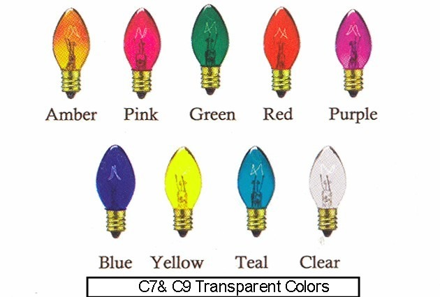 Universal Concepts can provide Incandescent c7 and c9 bulbs in a variety of colors.