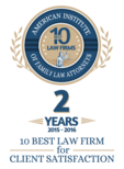 Top 10 Client Satisfaction Award, Criminal Defense Lawyer