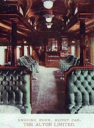 Postcard photo of the smoking room in the buffet car of the Alton Limited.