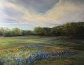 Texas Blues, large pastel landscape by Texas painter Lindy Cook Severns, Old Spanish Trail Studio, Ft Davis TX