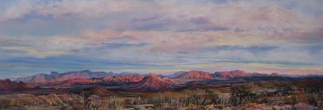 "A Terlingua Sunset, original 18"" x 38"" pastel landscape painting by Big Bend Artist Lindy Cook Severns, Old Spanish Trail Studio, Fort Davis, TX"