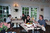 Guests eating breakfast in the Wedgwood Inn dining room.