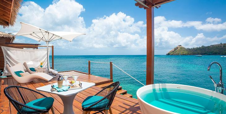 Sandals Grand St Lucian Over Water Bungalow deck