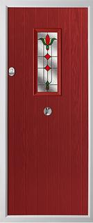 Cottage style composite door in red